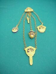 Victorian Antique Just Grand Gold Plated Chatelaine Flowers In Basket Design