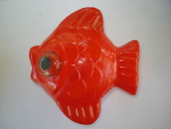 Vtg Ussr 1969's Red Fish Rattle Cast Celluloid Toy Rare