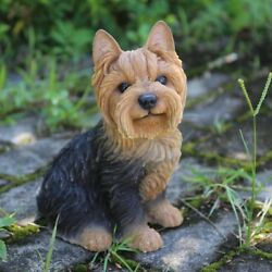 Sitting YORKSHIRE TERRIER Puppy Dog - Life Like Figurine Statue Home Garden NEW
