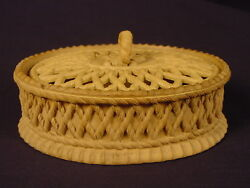 Extremely Rare 1800s Davenport Oval Covered Game Dish Cane Caneware Yellow Ware