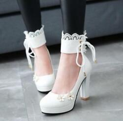 Magic Womens Sweet Anklet Mary Janes Lace Up Round Toe Lolita Block Heel Shoes