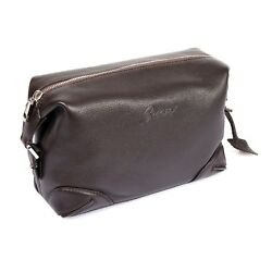 Brioni brown leather logo cosmetic dopp kit bag NEW w dust bag $499.00