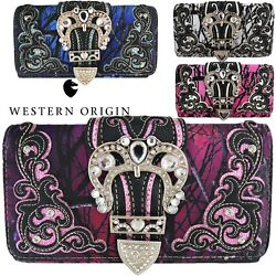 Western Camouflage Buckle Purse Single Shoulder Bag Clutch Women Wristlet Wallet $21.95