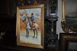 Wwi French Mounted Soldier Oil Painting