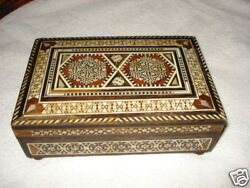 Old Ottoman Wood Trinket/playing Cards/cigarette Music Box Mosaic 1 Song