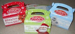 Lot Of 6 Or 12 Rudolph Santa Christmas Holiday Treat Cookie Candy Gift Box