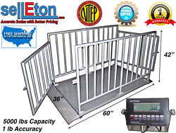 Ntep 60 X 36 X 42 Cattle/livestock/animal Cage Scale System At 5000 Lb X 1 Lb