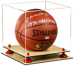 Clear Basketball Display Case With Red Risers And Wood Floor A001-rr