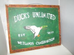 Hand Painted Ducks Unlimited Sign Wood Carved Decoy Hunting Lodge Bar Est 1937