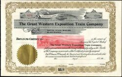 Great Western Exposition Train Co Of Colorado 190- Unissued Crisp Stock Cft.