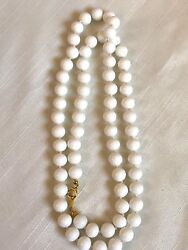 Vintage Milk Glass Knotted Round 9mm Beads Strand Necklace