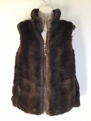 OLD NAVY Brown FAUX Mink Fur REVERSIBLE Women's Vest Size M