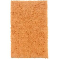 Riverbay Furniture 2and0394 X 4and0398 Hand Woven Shag Wool Rug In Pumpkin