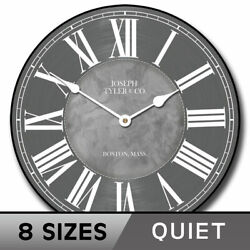 Waterford Gray Clock, Large Wall Clock, Ultra Quiet, 8 Sizes, Life Warranty