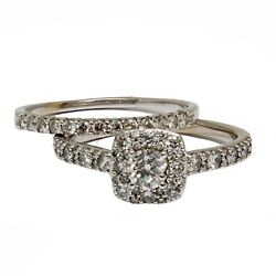 0.99 Cts Twt 14k White Gold Engagement Ring With Band