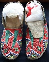 Pr Early 20th Century Sioux Indian Red And Green Beaded Sinew Sewn Hide Moccasins