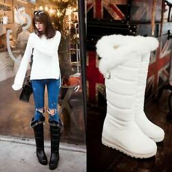 Magic Fur Lined Wedge Heel Platform Lady Knee High Snow Warm Boot Low Roma Shoes