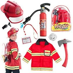 Preschool Toys For Boys Girls Fireman Costume Hat Backpack Kids New 8 Pieces