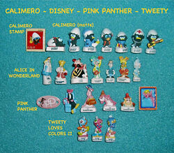 24 MINIATURE FRENCH FEVES PORCELAIN -CALIMERO PINK PANTHER TWEETY DISNEY- NEW