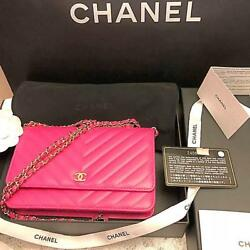 CHANEL Chain Shoulder Wallet Bag Pouch Pink Woman Luxury Auth New w Guarantee