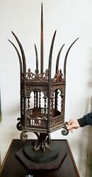 Huge Early Antique Hand Forged Iron Architectural Gas Light