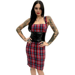 Switchblade Stiletto Plaid Cincher Dress Rockabilly Pin Up Corset Detail