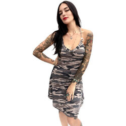 Switchblade Stiletto Camo Cincher Dress Rockabilly Pin Up Corset Detail