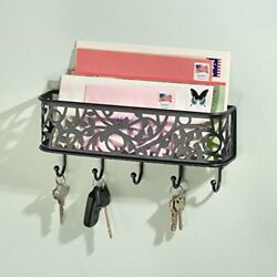 Letter Holder Organizer with Key Rack for Entryway Kitchen - Wall Mount Black