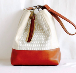 Handmade real leather & linen bucket bag tote