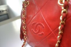Vintage and Rare 90's Authentic Red Chanel Lambskin Shoulder Bag in Good Cond