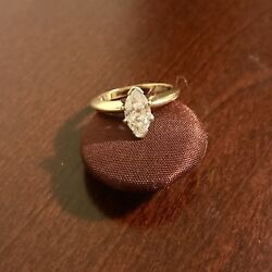 Marquise Diamond Ring Solitaire Yellow Gold Band.andnbsp Very Good Condition.