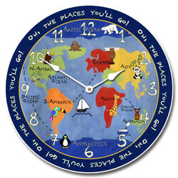Kids World Map Non Ticking Perfect Round Home Wall Decor Craft
