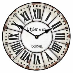 French Tower Vintage Wall Clock Ultra Quiet , Non Ticking Home Decor Battery Op