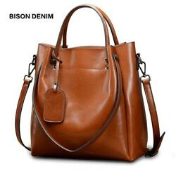 BISON DENIM Genuine Leather Luxury Handbags Women Bags Designer Female Fashion S