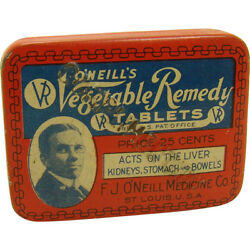 Oand039neilland039s Vegetable Remedy Tablets Early Advertising Tin - Small Version