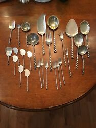 26 Peices Square Twist By Whiting Circa 1885 Antique Sterling Silver Flatware