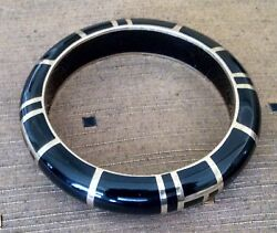 Sean Hill Black Resin Bangle - With Brass Maze Design - Free Shipping