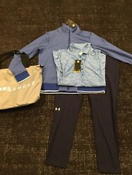Under Armor Set Pants, Polo, Zip Up Hoodie, Bag Size Xl Brand New Navy Grey Blue