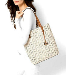 Michael Kors Signature Hayley Perforated Large Tote Bag Vanilla Gold NWT