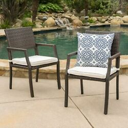 Edene Outdoor Wicker Dining Chairs Water Resistant Cushions Set Of 2