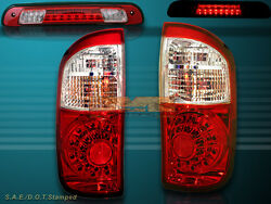 04 05 06 Tundra Double Cab Red Clear Led Rear Tail Lights And 3rd Brake Light Red