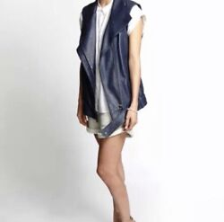 Helmut Lang Leather Moto Vest Size P Fits S Or M Nwt Retail 1195
