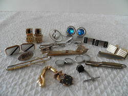 VINTAGE MENS CUFFLINKS AND TIE CLIPS - HICKOK AND SWANK - 1 FEATURES BULL DOG