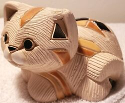 Brown and Orange Marked Off-White Kitty Figurine