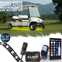 Full Color Rgbw Led Golf Cart Underglow Canopy Wheel Lights Kit Remote Control