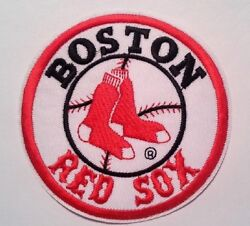 Boston Red Sox Embroidered Applique PATCH 4quot; Round Iron Sew On MLB FREE US Mail