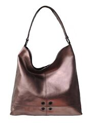 Sharif Genuine Leather Metallic Bronze Hobo With Grommet And Stud Detail
