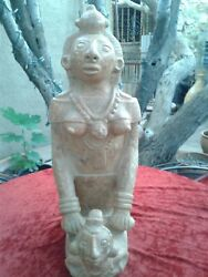 Mayan Red Clay Carved Pottery El Salvador Art Indigenous Craft Woman Figure Red