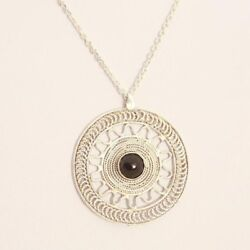 Anniversary Pendant Black Onyx Stone Necklace Ethnic Jewelry Mandala Necklace