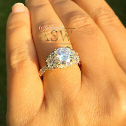 14k Yellow Gold Round Forever One Moissanite And Diamond Engagement Ring 2.50ctw